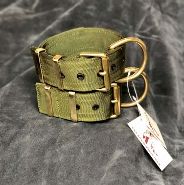 Military Green - Heavy Duty Working Dog Collar - Brass